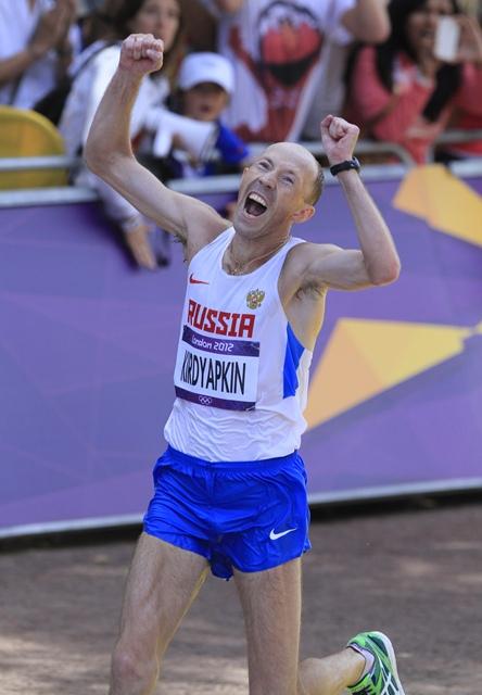 Sergey Kirdyapkin lors de son titre olympique à Londres en 2012 (Photo Gilles Bertrand)