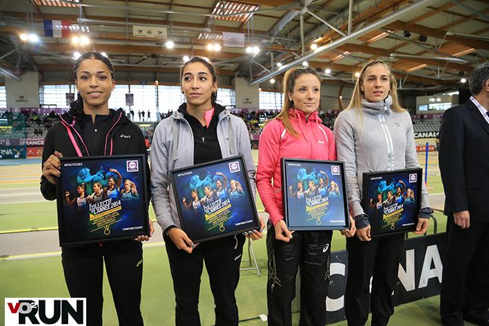 Le relais 4x400 m vainqueur à Zurich et honoré aux France Elite à Aubière (Photo Yves-Marie Quemener)