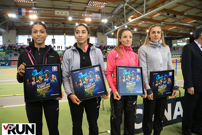 Les filles du relais 4x400 m, championnes d'Europe à Zurich et récompensées cet hiver à Aubière (Photo Yves-Marie Quemener)