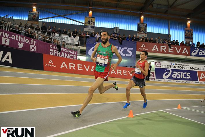 Première sélection internationale senior pour Mehdi Akaouch, ici aux France indoor sur 3 000 m - Photo Yves-Marie Quemener
