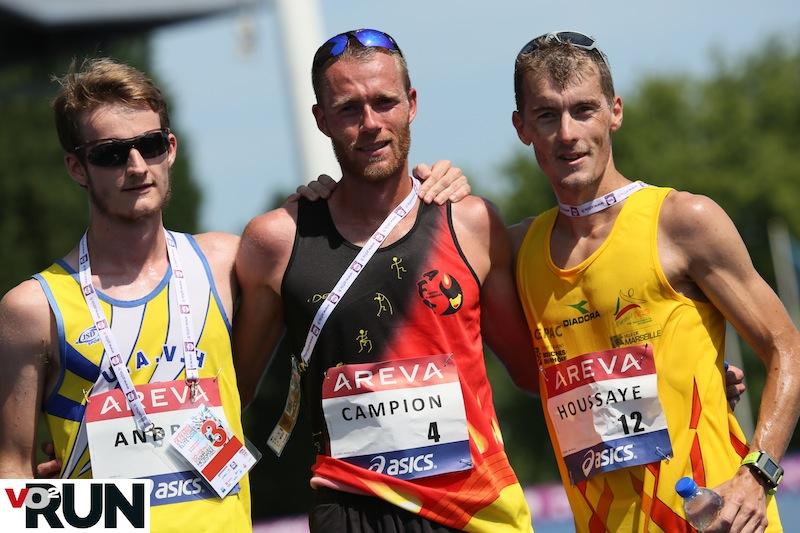 Le podium, avec Cédric Houssaye en deuxième position et Hugo Andrieu sur la 3e marche (Photo Jean-Marc Mouchet)