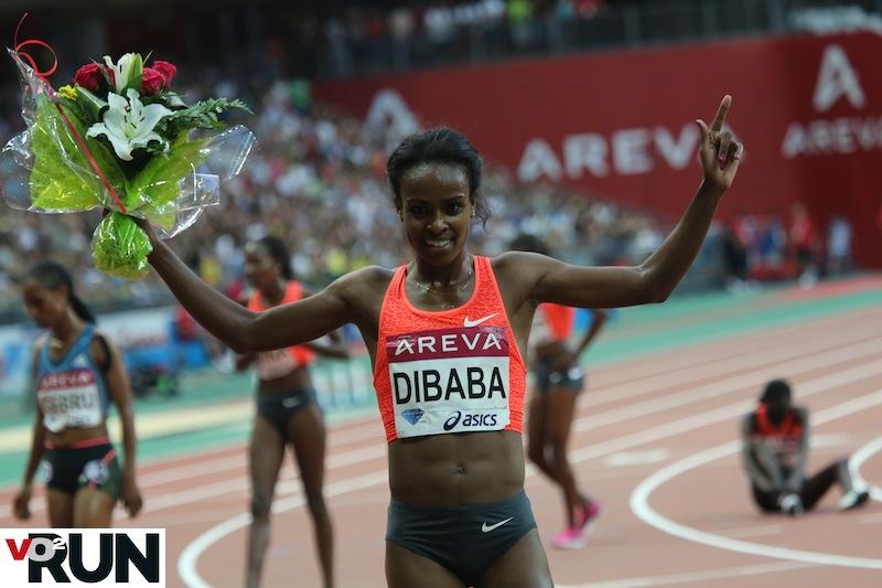 Genzebe Dibaba, ici au meeting Areva où elle l'avait emporté sur 5 000 m, va t-elle se rapprocher du record du Monde du 1 500 m (3'50''46 ) de Yunxia Qu ? (Photo Jean-Marc Mouchet)