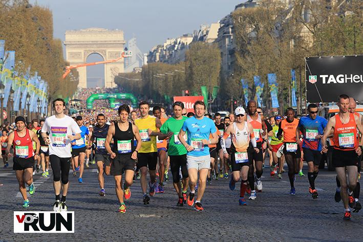 Départ du marathon de Paris. Il n'est pas encore question de blues. Si c'est le cas, les 42,195 km seront longs !