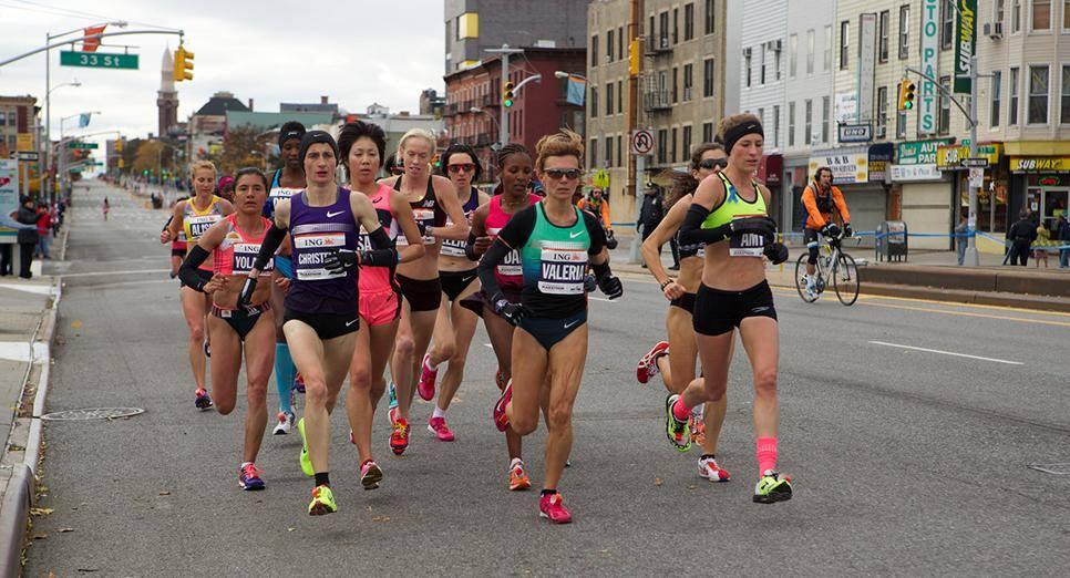Christelle Daunay dans le peloton au marathon de New York en 2013 (Photo organisation)