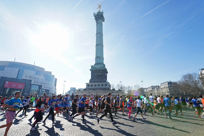 Semi-Marathon de Paris - 08/03/2014 - Paris - France - Passage place de la Bastille