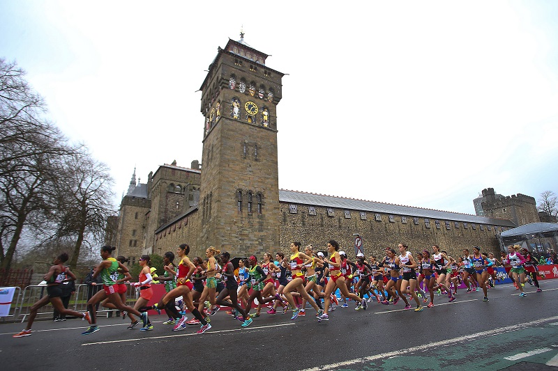 """CARDIFF, WALES - MARCH 26: A general view of the start of the Women's Half Marathon during the IAAF/Cardiff University World Half Marathon Championships on March 26, 2016 in Cardiff, Wales. (Photo by Jordan Mansfield/Getty Images for IAAF)"""