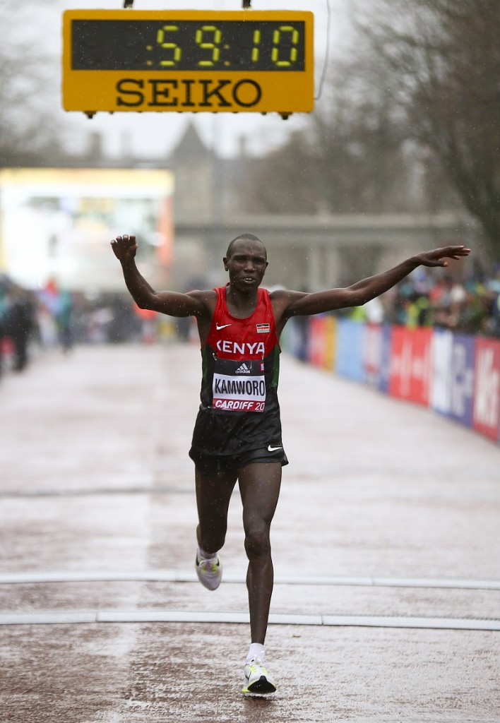 """CARDIFF, WALES - MARCH 26: Geoffrey Kipsang Kamworor of Kenya celebrates as he crosses the line to win the Men's Half Marathon during the IAAF/Cardiff University World Half Marathon Championships on March 26, 2016 in Cardiff, Wales. (Photo by Jordan Mansfield/Getty Images for IAAF)"""