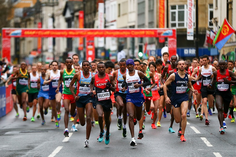 """CARDIFF, WALES - MARCH 26: A general view of the start of the Men's Half Marathon during the IAAF/Cardiff University World Half Marathon Championships on March 26, 2016 in Cardiff, Wales. (Photo by Jordan Mansfield/Getty Images for IAAF)"""