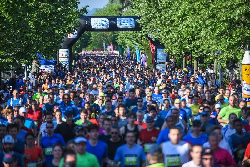 Départ du semi-marathon de l'Harmony Genève Marathon for Unicef