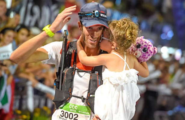 26/08/2016 UTMB 2016 CCC Arrival Michel LANNE (FRA) takes 1st place © UTMB® - photo : Michel Cottin